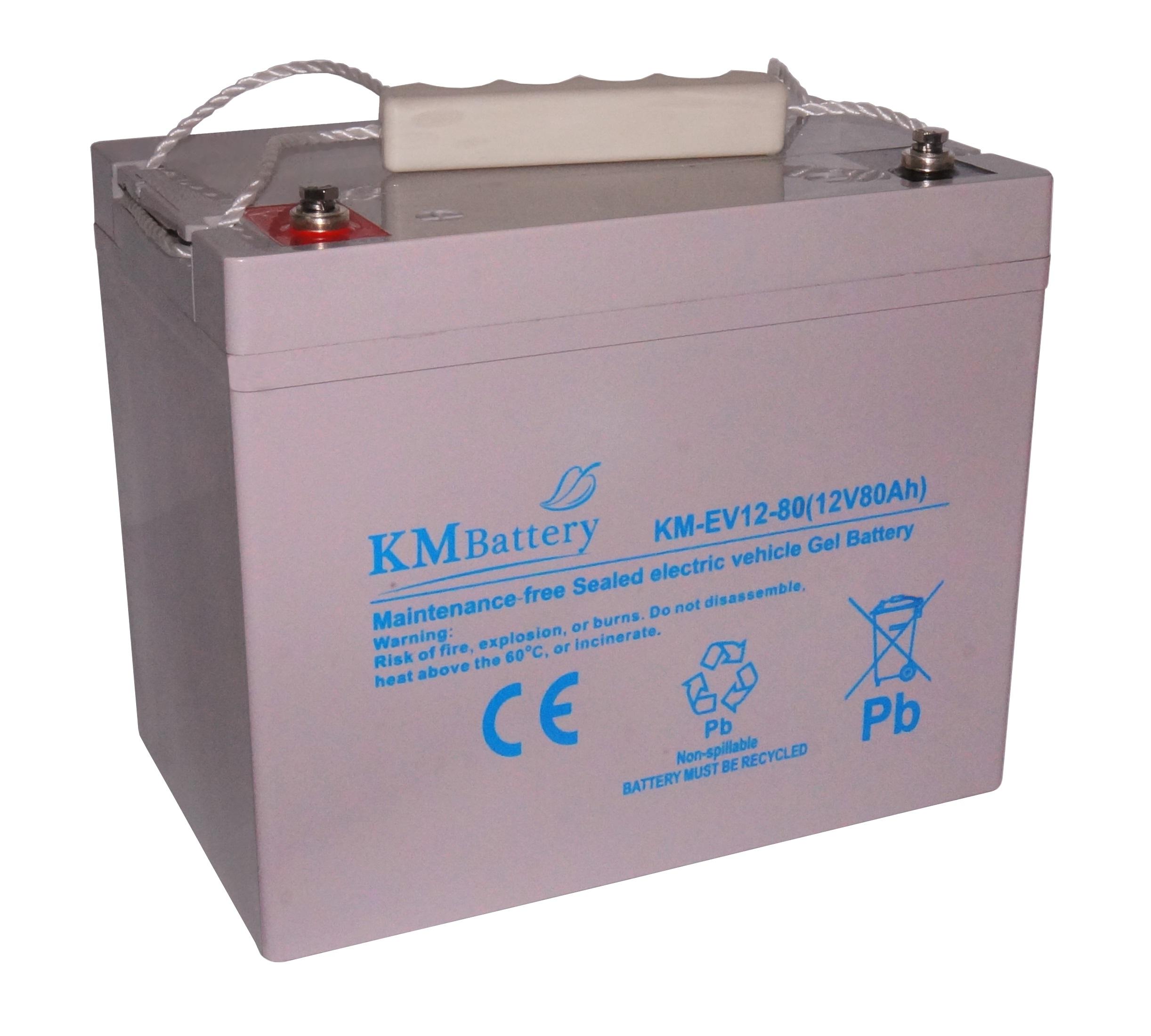 W Mega Akumulator żelowy KM Battery EV80 Ah 12V do pojazdów elektrycznych UF97